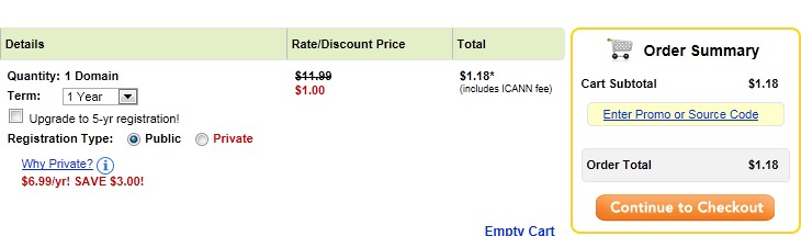 Godaddy 1美元优惠码购买页面
