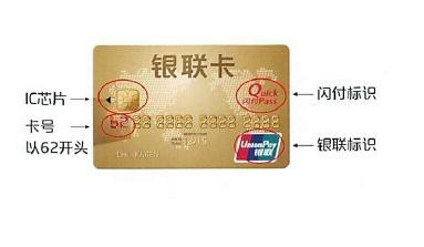 银联支持闪付功能的金融IC卡