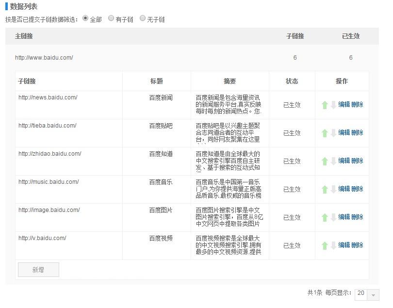 提交站点子链列表示例