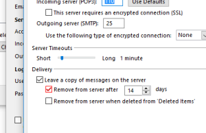 Outlook2016某版本存在POP3协议删除服务器邮件Bug
