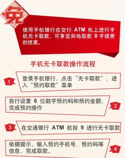 交通银行手机银行无卡取款享异地0手续费