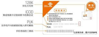 中国联通(U)SIM卡背面ICCID最后一位字母含义