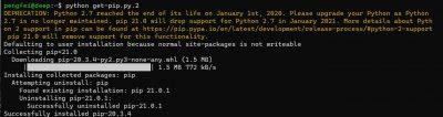 "pip 升级到21.0.1 后报错 sys.stderr.write(f""ERROR: {exc}"")"